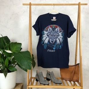 Vintage 90s Blue Colorado Wolf Feather Graphic Tee